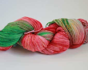 Watermelon - Hand dyed yarn |SW 75/25 Merino Yarn |400 Meters/100 grams