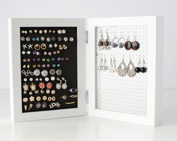Framed Earring Holder - White 4x6 Size - Hook and Stud Earring Holder