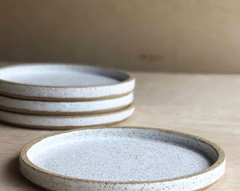 White Speckled Ceramic Plates