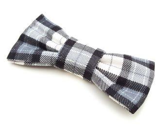 Cat Bowtie - slide on - black and grey plaid tartan