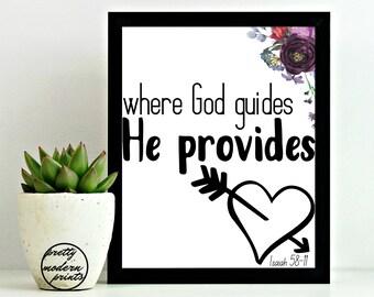 Where God Guides He Provides, Encouraging Bible Verses, 1 Peter 5:7, Christian Art Print, Printable Decor, Floral Art, Home Decor