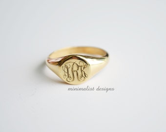 Sterling silver, Gold signet ring,Signet Ring,gold,Monogram, Engraved Monogram Ring, Bridesmaids Ring, Valentines Day, Christmas Gift