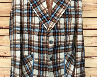 70's mens vintage plaid sports coat jacket