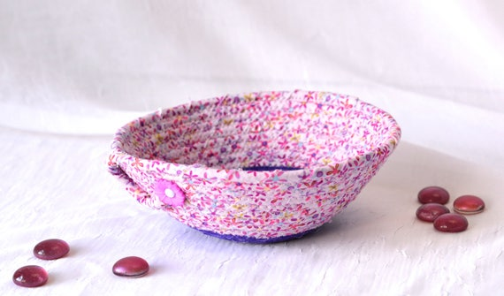 Handmade Violet Basket, Artisan Quilted Floral Basket, Pink Ring Dish, Purple and Pink Quilted Bowl Home Decor