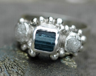 Raw Tourmaline Crystal and Rough Diamond Sterling Silver Ring- Custom Made Ring