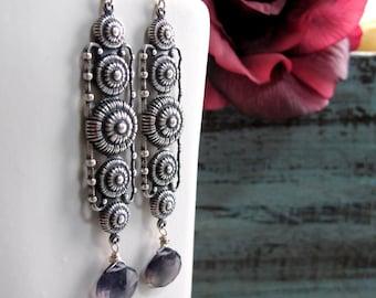 Antique Silver Earrings, Vintage Inspired Long Earrings, Iolite Blue Gemstone Earrings, Art Deco - BLANCA