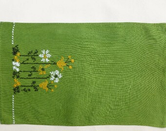 Vintage Green Linen Tea Towel, Embroidered Flowers