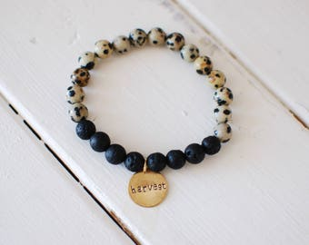 Customizable Glass Bead Lava (Oil Diffusing) Bracelet