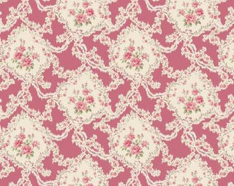 Victorian Rose RURU by Quilt Gate Floral Cartouche on Rose Pink RU2320-13B  Choose your cut  YES! Continuous fabric cuts & combined shipping