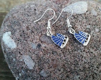 Dark Blue Sailboat Charm Earrings - Vacation Reveal Gift Ideas - Gifts for mom or grads - Fun Fashion Jewelry