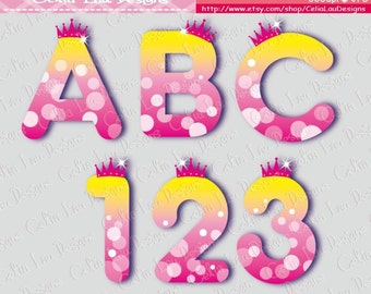 Princess Font Digital Clip Art / Cute Princess Alphabet and number Clipart (CG062) /Babyshower party / Birthday Party /INSTANT DOWNLOAD