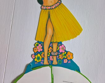 Vintage Hula Girl Art-Tissue Party Decoration --- Retro 1970's 1980's Centerpiece Festive Paper Decor --- Kitschy Beistle Summer Celebration