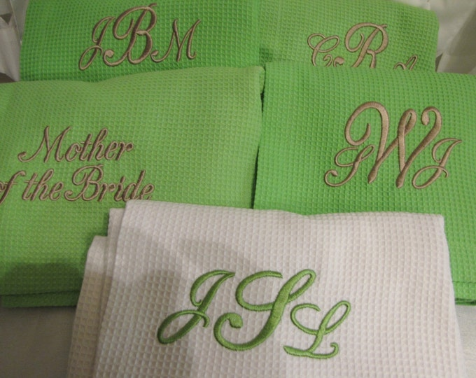 Five Monogrammed Spa Wrap- Bridesmaid Gift- Wedding Party