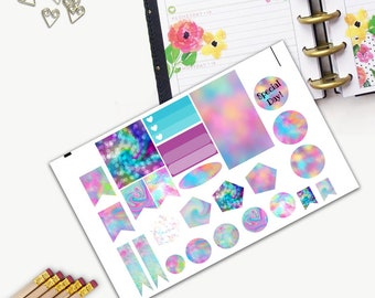 Favorite Color Theme One Day Small Planner Sticker Set, All Planner Stickers, Stickers, Printed, Cut, Functional Sticker, Teal, Pink, Red