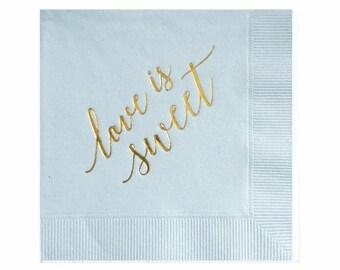 L'amour est doux serviettes de table - serviettes en feuille d'or - garçon bébé douche serviettes