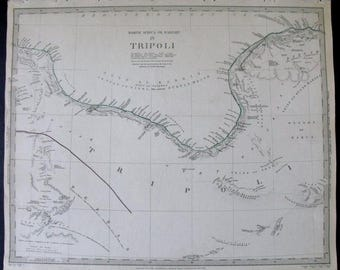 1837 Gulf of Sidra Libya Tripoli Benghazi, North Africa, Barbary Coast. Original outline handcoloring. SDUK map, Antique Engraved large map