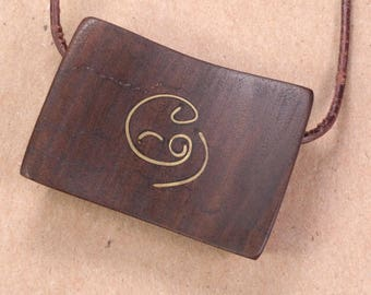 Mother and Baby Pendant - Brass in Black Walnut