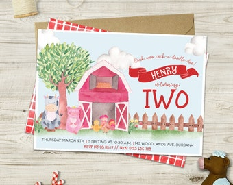Watercolor Farm Invitations
