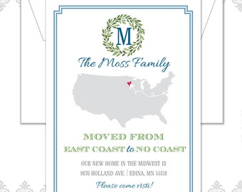 New Home Cards, East Coast to Midwest, East Coast to No Coast, Change of Address, We've moved cards, Wreath, USA map, United States moved