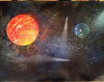 Spray paint art planets and sky