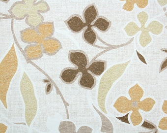 Retro Wallpaper by the Yard 70s Vintage Wallpaper - 1970s Brown Orange Tan and Beige Mod Floral