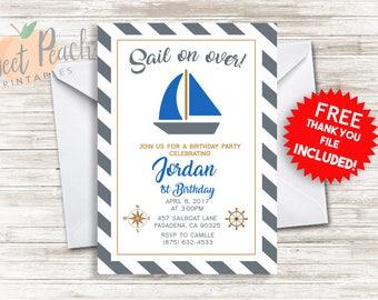 Sail Boat Birthday Invite 5x7 Digital Personalized Sailing Nautical Birthday Party Invitations, Compass Ocean, Boat, #149.0
