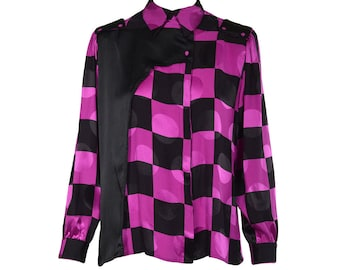 Checkered Print Blouse - Women's Size IT42