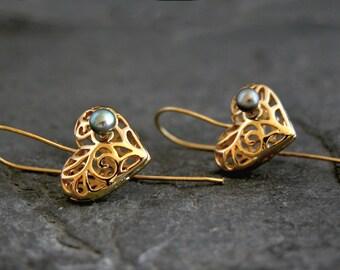 Mother Gift, Gift For Her, Gold Heart Earrings, Gold Dangle Earrings, Gold Heart Pearl Earrings, Heart Drop Earrings, Gold Heart Jewelry
