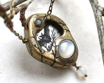 Bat Necklace, Moonstone Pendant, Halloween Jewelry, One of a Kind, Bat Jewelry, Moon Necklace, Night Creatures, Bat Lover, Sculpted Pendant