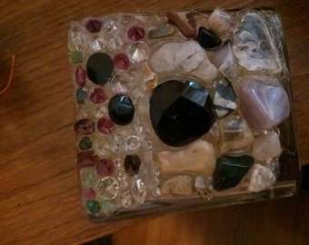 Glass, shell, and gemstone candle holder