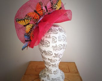 Pink Butterfly Fascinator Headpiece