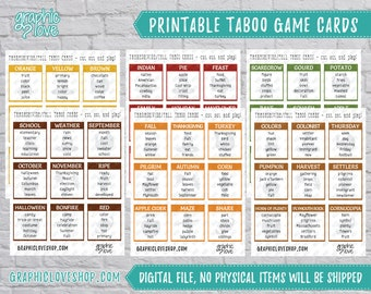 Printable Thanksgiving/Fall Taboo Game 54 Cards   PDF File, Instant Download, Ready to Print