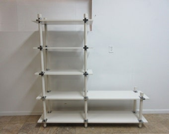 Vintage Mid Century White Chrome Bookshelf Etagere Display Library Stand