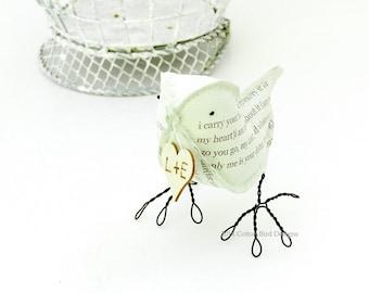 2nd Wedding Anniversary Cotton Gift Love Bird Poem Bird and Heart with your initials by Cotton Bird Designs