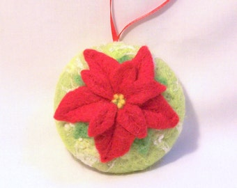 Christmas Ornament - Needle Felted - Red Poinsettia - Needlefelt Ornament - Chartreuse - Felt Christmas - Christmas Gift
