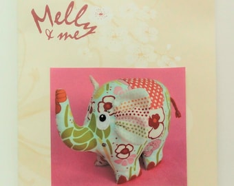 """Fabric elephant pattern, Melly & Me designer, Phoebe, toy elephant, 11"""" tall, uncut new sewing pattern, DIY, stuffed toy animal"""