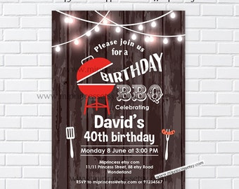 BBQ, Birthday Invitation, bbq invitation, wood rustic, invite, backyard bbq, adult party, adult birthday, surprise party, invite - card 595