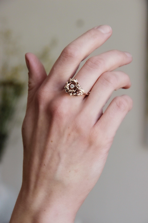 Rose flower engagement ring, Unique proposal ring, Diamond 14K gold ...