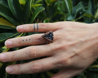 Druzy black quartz ring