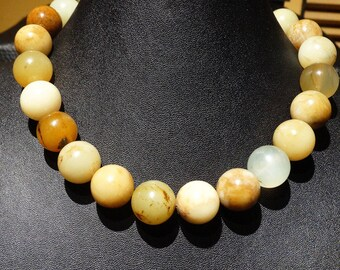 Jade Bead Necklace,  Multicolor Natural Nephrite, Large 16mm Beads