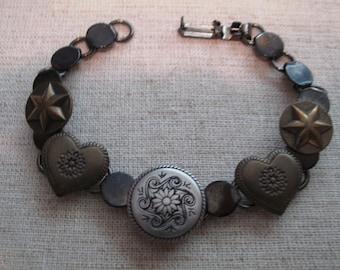 Antique Brass Button Bracelet  Hearts-Stars and Flowers Design