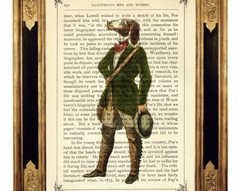 Dog Gentleman Dictionary Art Print Frock Coat Portrait Poster Steampunk - Vintage Victorian Book Page Art Print