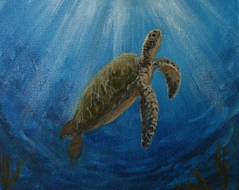 """Sea Turtle in Blue Ocean Original signed Acrylic Painting square 6""""x 6""""x 1.5"""""""