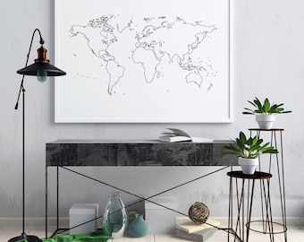 World Map Wall Art, World Map Poster, World Map Print, World Map Art, Black And White Wall Art, Black And White Print