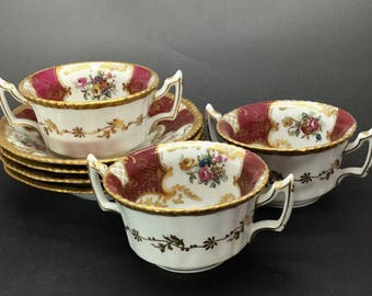Vintage R  Delinieres & Cie Limoges Cream Soup Cups and Saucers Gold and Red