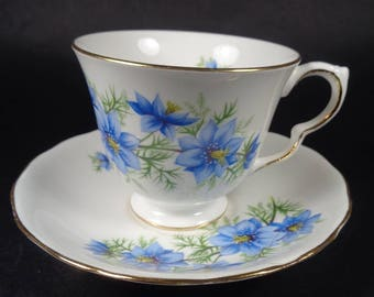 Vintage Cup and Saucer, English Bone China Teacup, Floral Teacup, Blue Flowers Cup and Saucer, Queen Anne Teacup Set