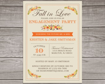 Fall Engagement Party Invitations - Fall Floral Engagement invitation - Fall in Love - Engagement 106