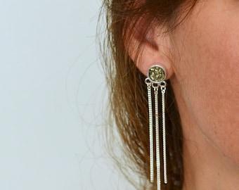 Silver and Pyrite Dangle Earrings, Raw Pyrite Earrings, Raw stone Jewelry, Raw Gemstone Earrings, Peruvian Earrings