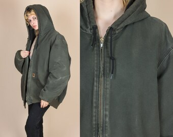 Vintage Carhartt Hooded Jacket - Mens XXL Tall // Oversize Green Workwear Coat