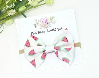 Watermelon bow, nylon headband, baby headband, summer headband, watermelon headband, newborn headband, toddler hair bow, baby hair bow, clip